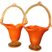 Pair of Orange Vintage Art Glass Lip Shaped Baskets