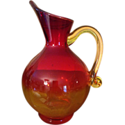 Vintage Handblown Amberina Pitcher
