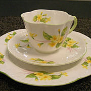 Shelley Primrose Trio Cup & Saucer & Cake plate Pre-1962