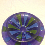 Vintage Higgins Art Glass Charger & Bowl Set 1960's Signed