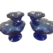 Set of 4 Florentine Poppy #1 Cobalt Blue Ruffled Comports 1932-1935 Depression Glass