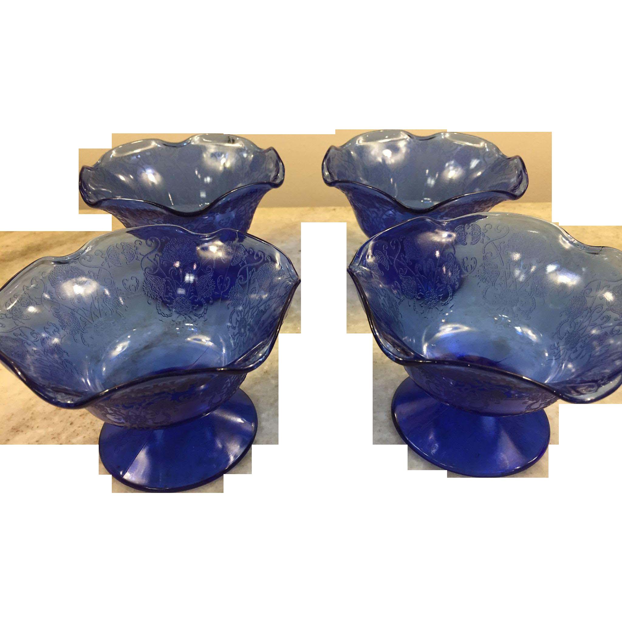 Set of 4 Florentine Poppy #1 Cobalt Blue Ruffled Comports 1932-1935 Depression Glass