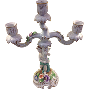 "Von Schierholz Porcelain Floral Child Candelabra German Dresden 14"" Great Cond!"