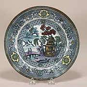 French Variant Blue Willow Polychrome Plate