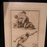Montfaucon 18th cen. Engraving. Greek Wrestlers, Lutteurs