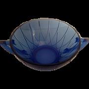 Newport or Hairpin Cream Soup Cobalt Blue Hazel Atlas 1936-1940 Exc. Cond.