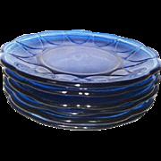 Set of 6 Newport or Hairpin Sherbert Plates Cobalt Blue Hazel Atlas 1936-1940