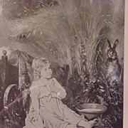 """""""Both Astonished"""" Rabbit & Little Girl Print 1898 Art Journal"""