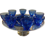 Cobalt Blue Saturn Chrome Punchbowl Set Hazel Atlas, with original Ladle and 8 Punch Cups c.1940