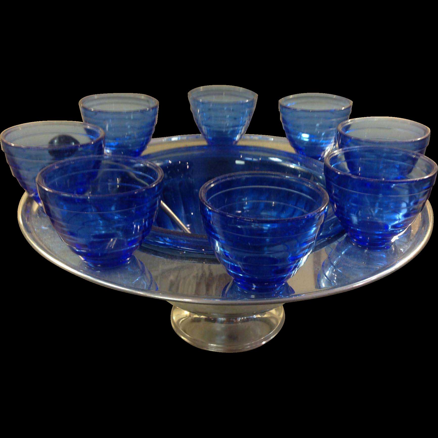 Cobalt Blue Saturn Chrome Punchbowl Set Hazel Atlas, with original Ladle and 8 Punch Cups c.1940