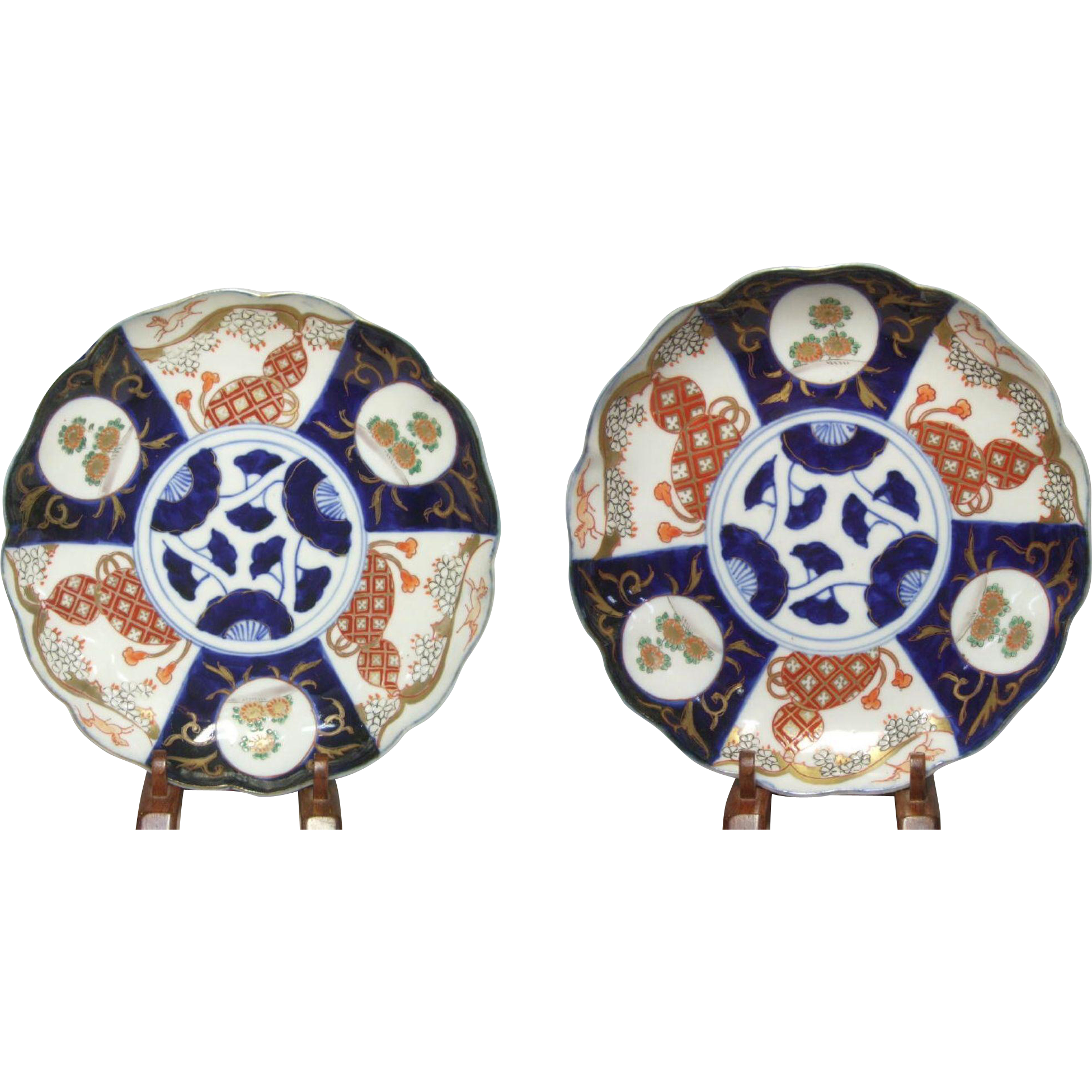 "Pr. Japanese Imari Plates, c.1840's, 8 1/2"" Horse and Gourd Design"
