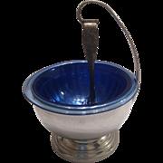 "Hazel Atlas Cobalt Ritz Blue Ice Bowl Chrome stand w Claw Tongs, Deco 6 3/4 ""dia"