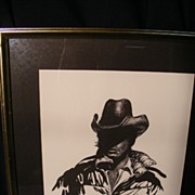 "Limited Edition Signed Print by Dan Lund 1981 #86/200 ""Mysterious Cowboy"""