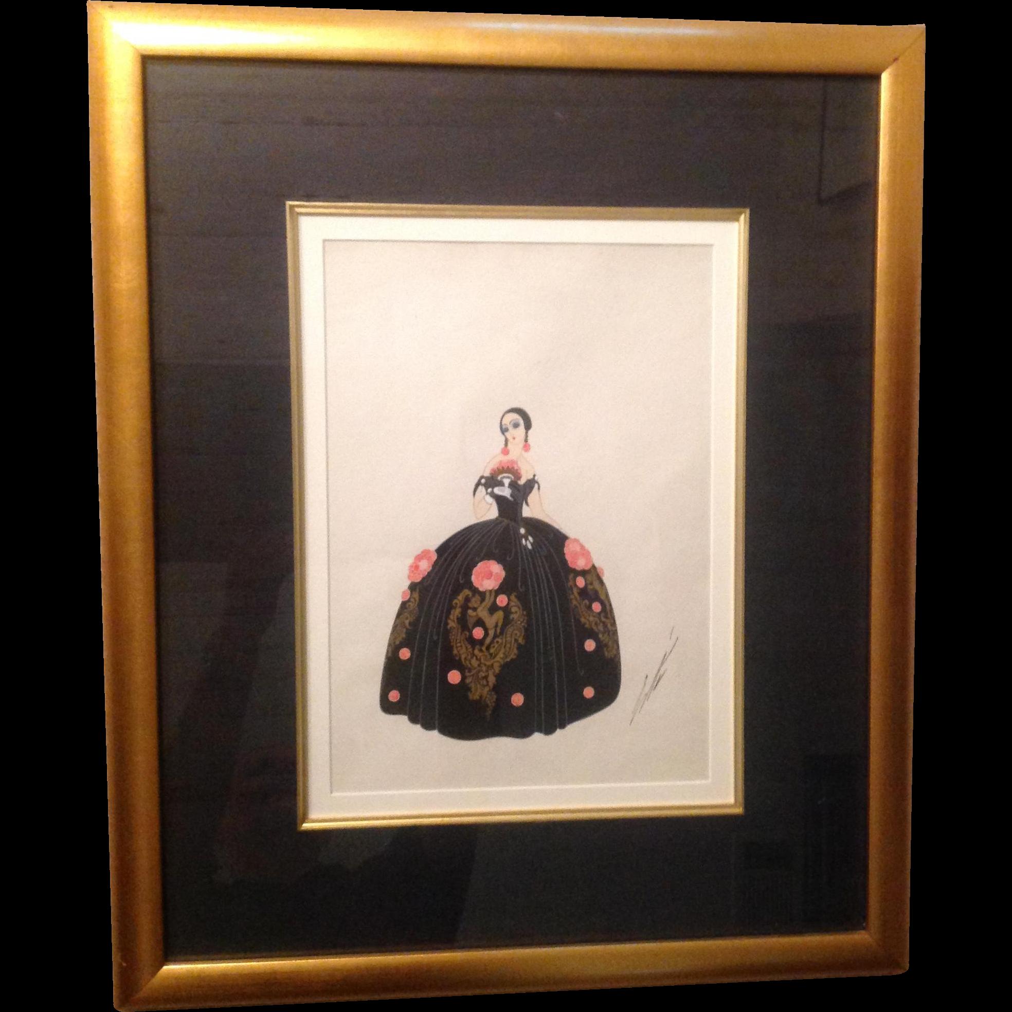 Original Erte Gouache Painting 1928 La Traviata Opera Dress Design Signed *RARE*
