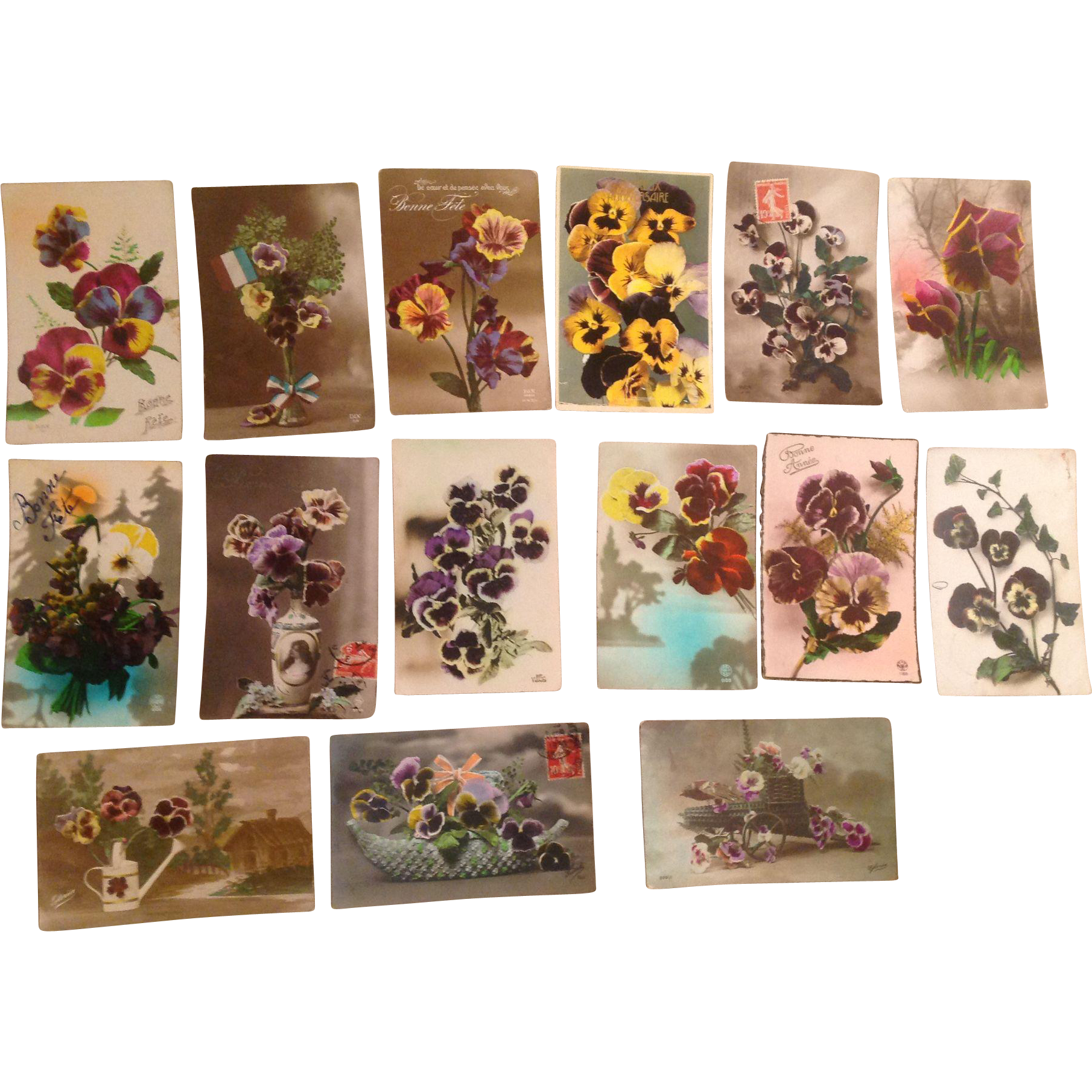 Lo of 15 Old French Floral Postcards with Pansies Pansy 1910's