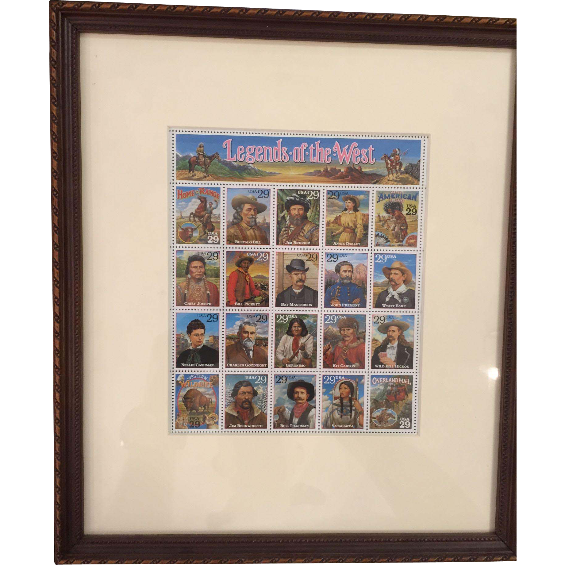 Legends Of The West Stamps, Framed & Matted