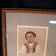 European Signed Original Artwork, Village Girl