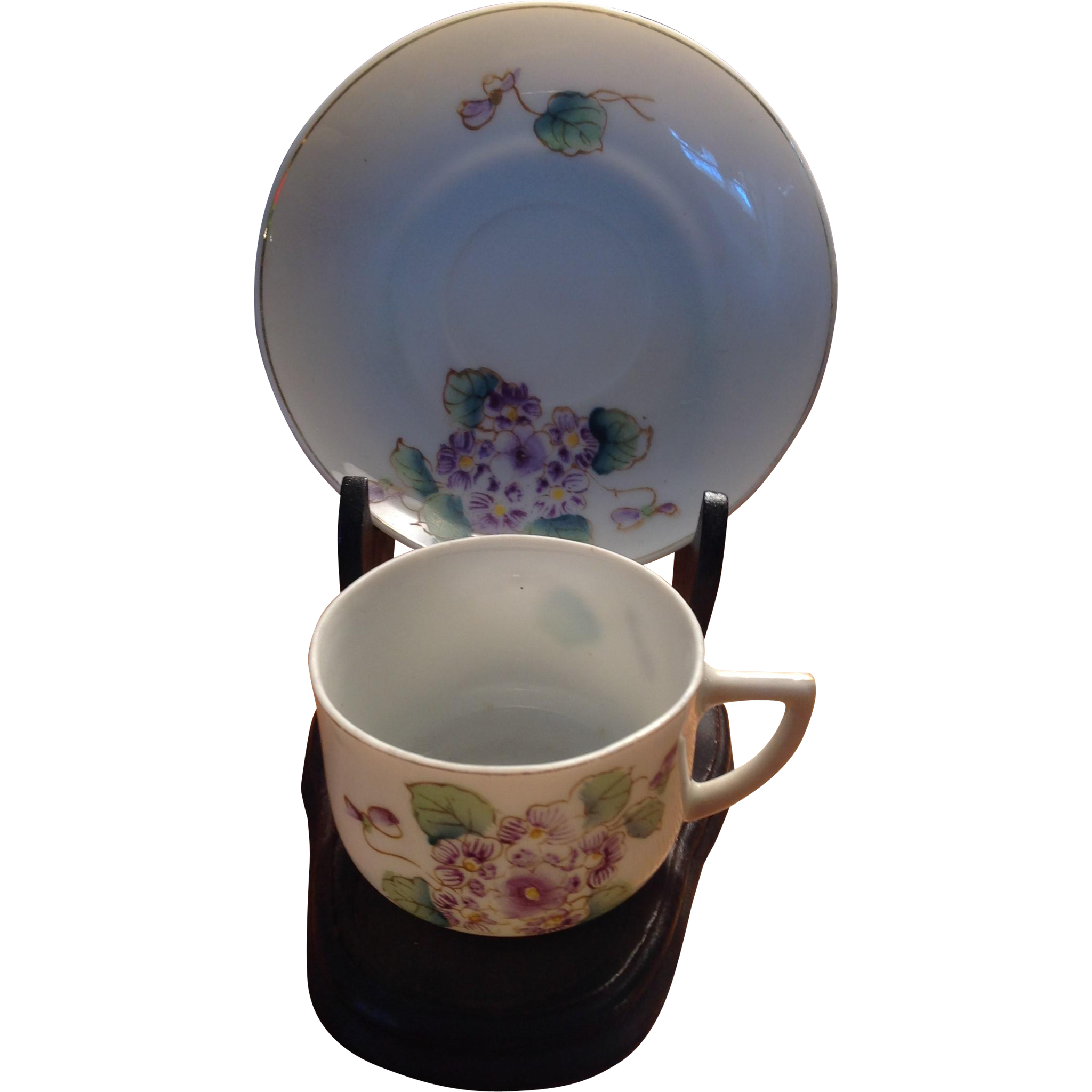 Occupied Japan Violets Demi Cup & Saucer with Occ. Japan Wooden Stand