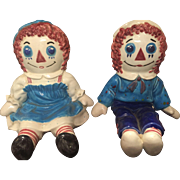 Raggedy Ann & Raggedy Andy by Bobbs Merrill 1974 & 1976 Handpainted Bookends