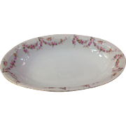 "Royal Schwarzburg China RSC15 Oval 9"" Veg Bowl Pink Rose Garland Design c.1915"