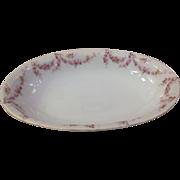 "Royal Schwarzburg China RSC15 Oval 9"" Veg Bowl Pink Rose Garland Design c.1915"