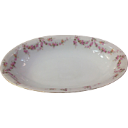 "Royal Schwarzburg China RSC15 Oval 10.5"" Veg Bowl Pink Rose Garland Design c1915"