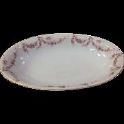 "Royal Schwarzburg China RSC15 Oval 10.5"" Veg Bowl Pink Rose Garland Design c1915"
