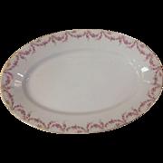 """Royal Schwarzburg China RSC15 18.25"""" Platter Pink Rose Garland Design c.1915"""