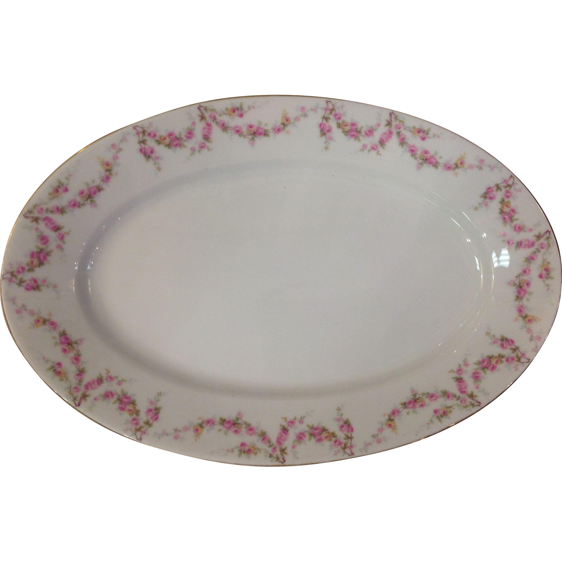 """Royal Schwarzburg China RSC15 Platter 16"""" Pink Rose Garland Design c.1915"""