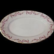 """Royal Schwarzburg China RSC15 Platter 14"""" Pink Rose Garland Design c.1915"""