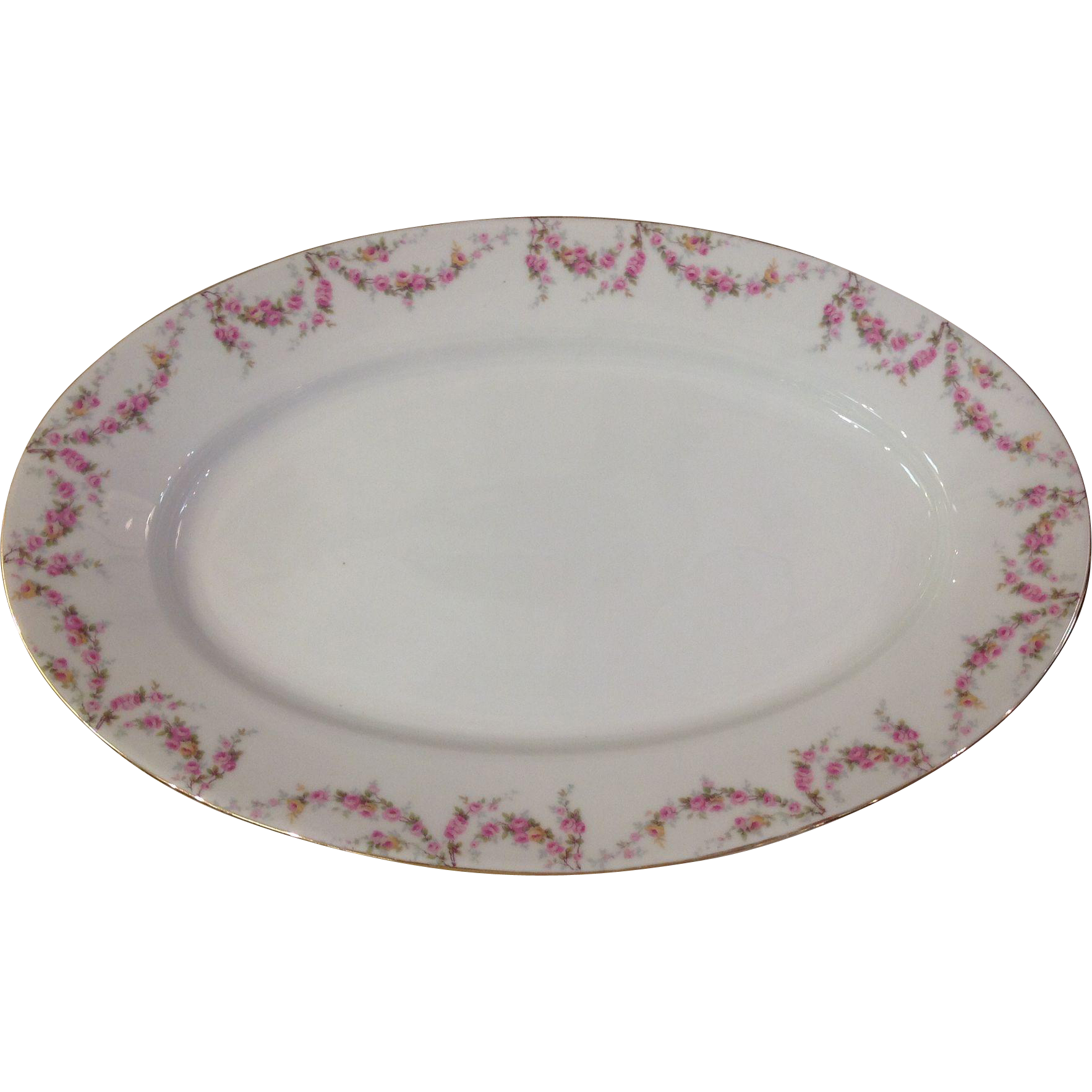 "Royal Schwarzburg China RSC15 Platter 14"" Pink Rose Garland Design c.1915"