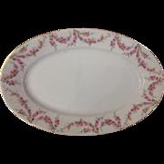 """Royal Schwarzburg China RSC15 Platter 11 3/4"""" Pink Rose Garland Design c.1915"""