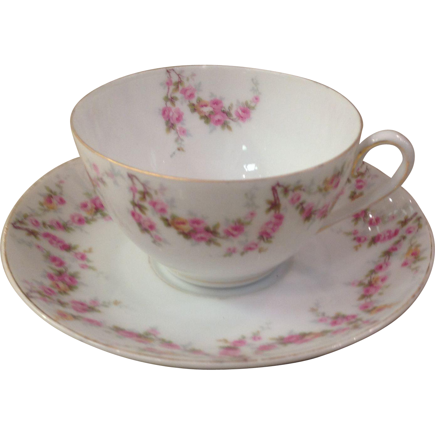 Royal Schwarzburg China RSC15 Tea Cup & Saucer Pink Rose Garland Design c.1915
