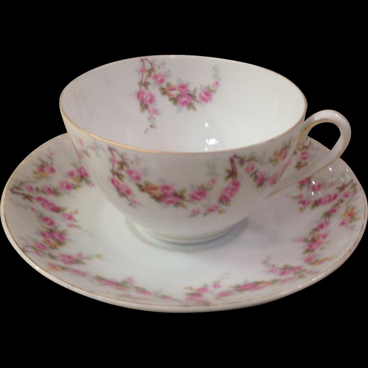 Royal Schwarzburg China RSC15 Tea Cup & Saucer Pink Rose Garland Design c.1915