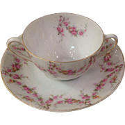 Royal Schwarzburg China RSC15 Cream Soup Set Pink Rose Garland Design c.1915