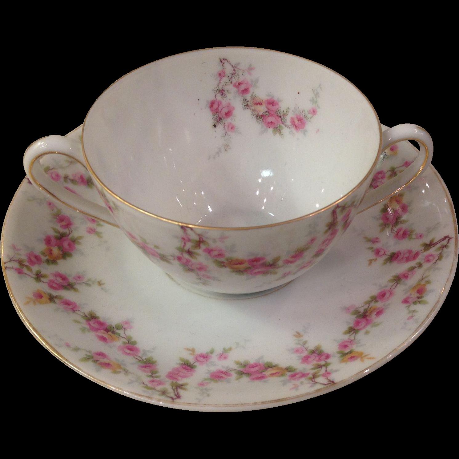 Royal Schwarzburg China RSC15 Cream Soup Set Pink Rose Garland Design c.1915
