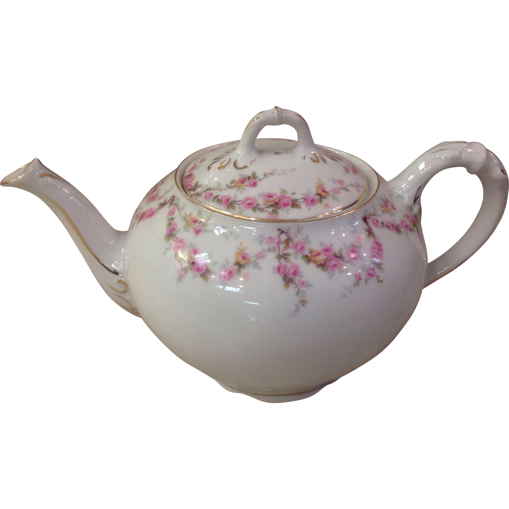 Royal Schwarzburg China RSC15 Teapot Pink Rose Garland Design c.1915