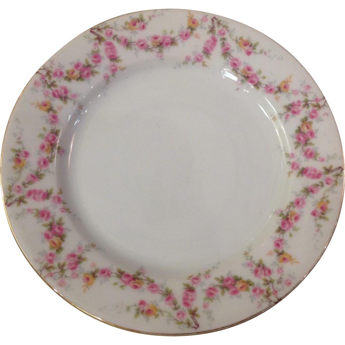 Royal Schwarzburg China RSC15 Salad Plate Pink Rose Garland Design c.1915