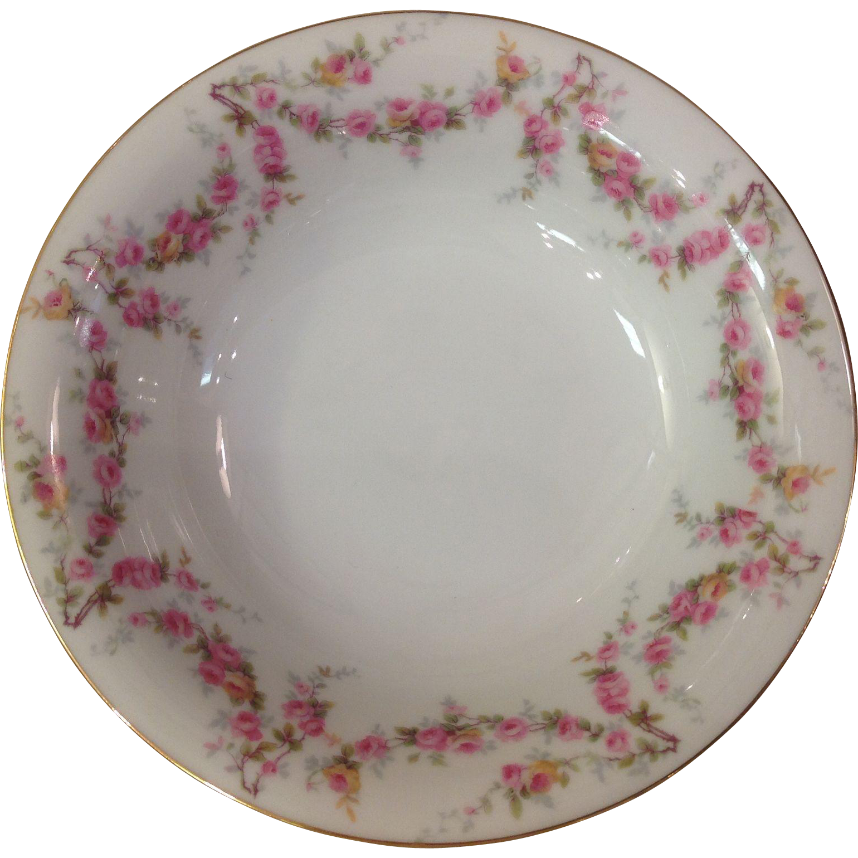 Royal Schwarzburg China RSC15 Cereal Bowl Pink Rose Garland Design c.1915