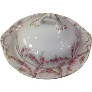 Royal Schwarzburg China RSC15 Covered Butter Pink Rose Garland Design c.1915