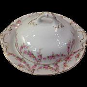 Royal Schwarzburg China RSC15 Covered Butter Pink Rose Garland Design c.1915