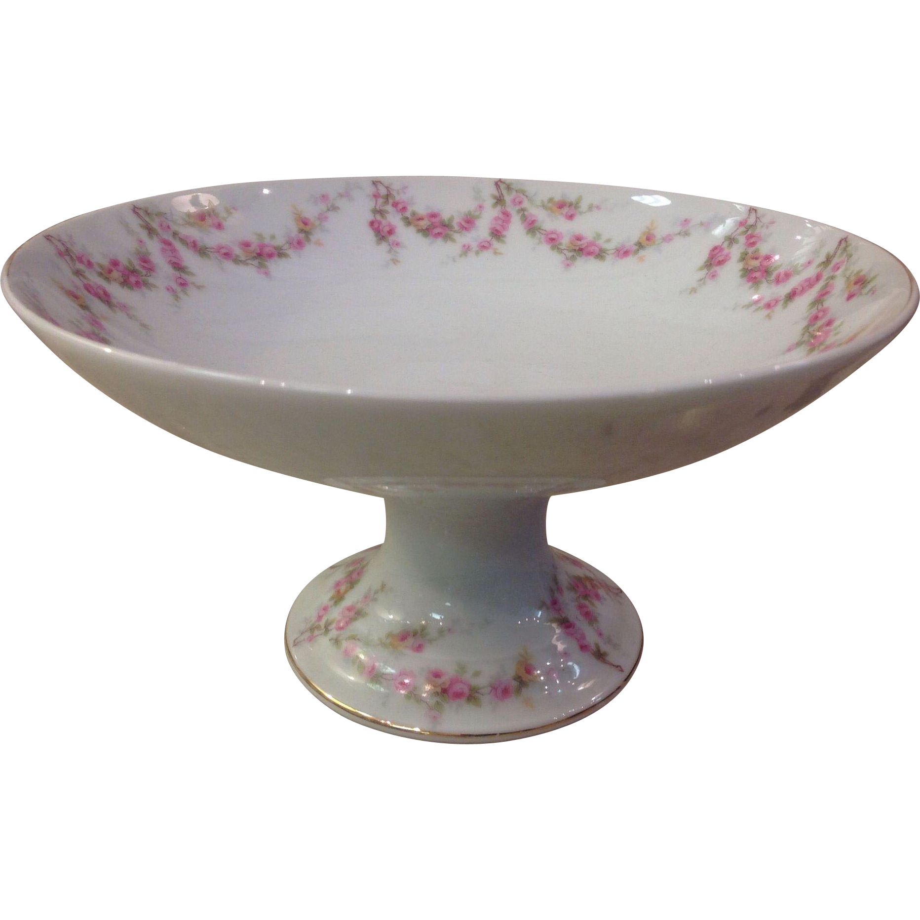 Royal Schwarzburg China RSC15 Round Compote Pink Rose Garland Design c.1915