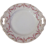 Royal Schwarzburg China RSC15 Handled Cake Plate Pink Rose Garland Design c.1915