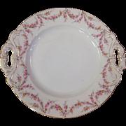 Royal Schwarzburg China RSC15 Handled Cake Plate Pink Rose Garland Design c.1915