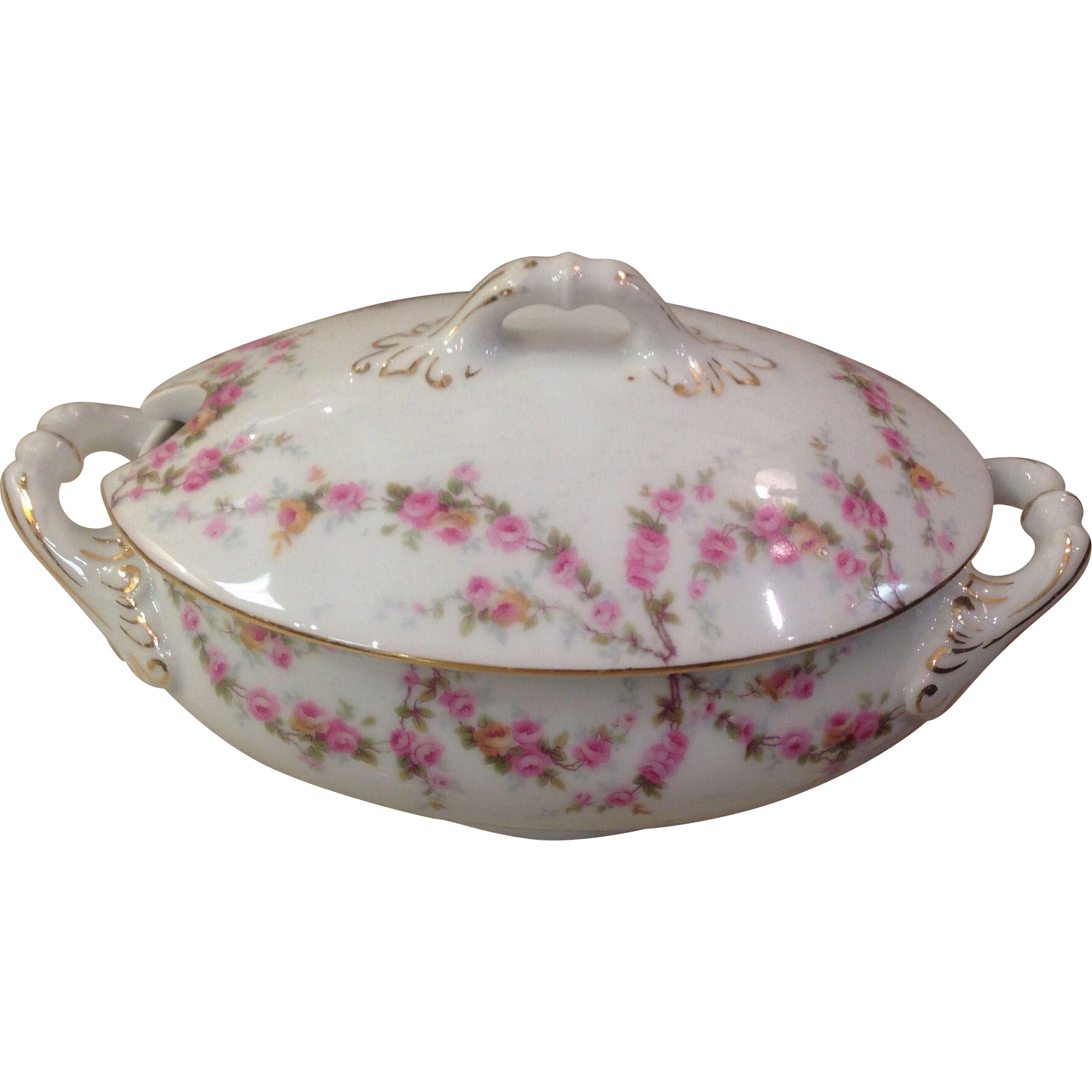 Royal Schwarzburg China RSC15 Covered Sauce Tureen Pink Rose Garland c.1915