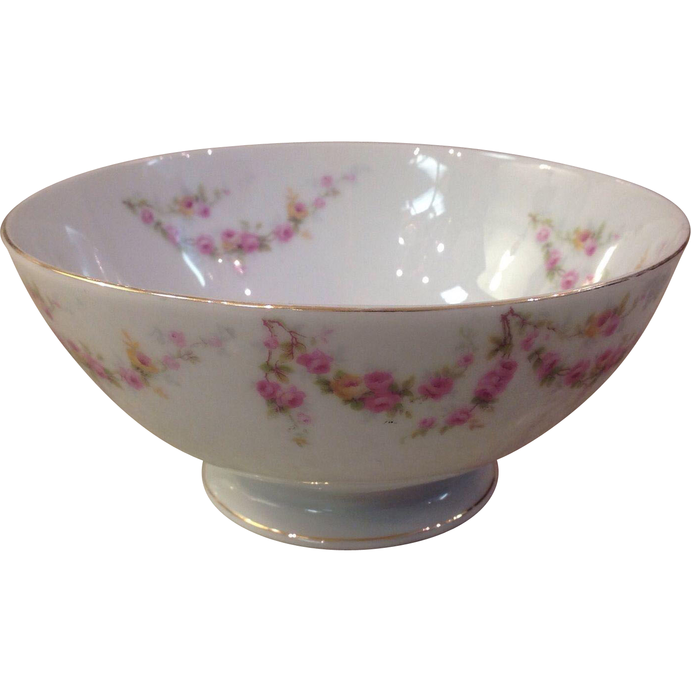 Royal Schwarzburg China RSC15 Waste Bowl Pink Rose Garland Design c.1915