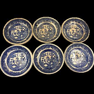 Set of 6 Blue Willow Butter Pats, Ridgways England, c.1915