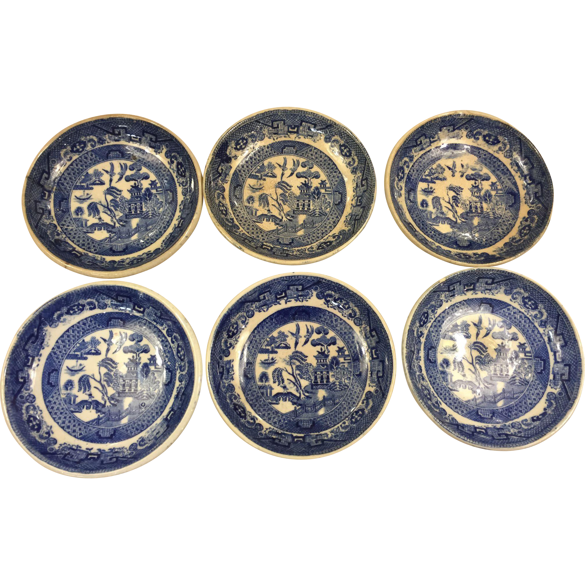Set of 6 Blue Willow Butter Pats, Ridgways England, c.1915