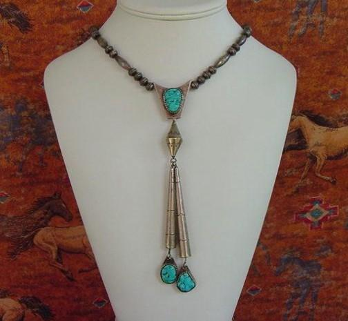 Spectacular Vintage Native American Shooting Star Pendant Necklace Kingman Turquoise Sterling Silver Signed