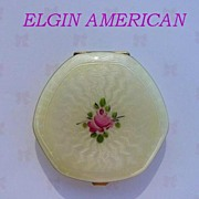 Vintage 1920's Elgin American Compact Guilloche Enamel 14K Gold Loose Powder & Rogue Vanity Case Compact Near Mint